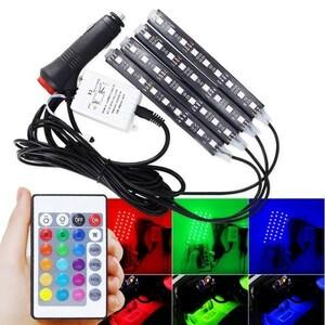16色 RGB LED ルームランプ 室内灯 フットランプ オンオフ スイッチ シガーソケット ラパン ソリオ バンディット ワゴンR スティングレー
