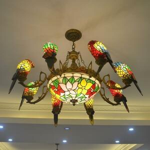 極美品★高品質 豪華天井照明ステンドグラスランプ ペンダントライト ガラス工芸品