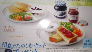 アヲハタ 朝食をたのしむセット カフェプレート&ヨーグルトグラスカップ ペア 当選品 新品未使用 非売品 デュラレックス社製