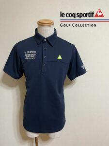 【美品】 le coq sportif GOLF ルコック ゴルフ コレクション ドライポロシャツ トップス サイズLL 半袖 ネイビー QGMPJA14 デサント