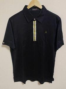 シンプルなデザイン 夏場に! le coq sportif GOLF ルコックゴルフ ポロシャツ 半袖 ロゴ刺繍 ブラック 黒 Lサイズ メンズ ゴルフウェア