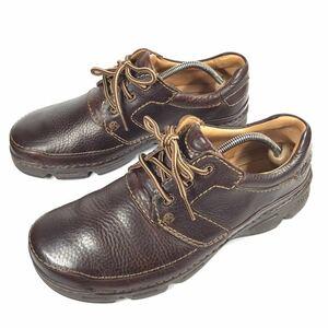 【クラークス】本物 Clarks 靴 26cm 茶 スニーカー カジュアルシューズ ビジネスシューズ 本革 レザー 男性用 メンズ UK 8 G
