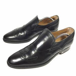 【ルイヴィトン】本物 LOUIS VUITTON 靴 26cm 黒 スリッポン ローファー ビジネスシューズ 本革 レザー 男性用 メンズ イタリア製 7