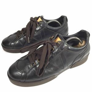 【ルイヴィトン】本物 LOUISVUITTON 靴 26.5cm 黒 ガストンV スニーカー カジュアルシューズ 本革 レザー 男性用 メンズ イタリア製 8