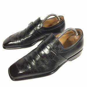 【ルイヴィトン】本物 LOUIS VUITTON 靴 24.5cm 黒 ダミエ ロゴ金具 ローファー スリッポン ビジネスシューズ 本革 レザー メンズ 伊製 5
