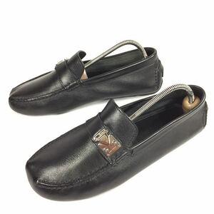 【ルイヴィトン】本物 LOUIS VUITTON 靴 25.5cm 黒 LV金具 ドライビングシューズ スリッポン ビジネスシューズ レザー メンズ 伊製 6 1/2