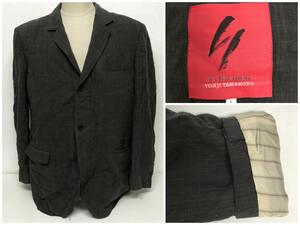 BY10/66 90s 赤タグ Y's for men Yohji Yamamoto テーラードジャケット ダークグレー L ブルゾン ヨウジヤマモト ワイズフォーメン