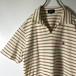 パーリーゲイツ PEARLY GATES ポロシャツメンズ サイズ4 薄クリーム色 ボーダー ワンポイント 刺繍 日本製 ゴルフ