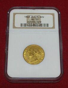 ★匿名配送★ 1ソブリン金貨 ヴィクトリア女王 1868 オーストラリア イギリス連邦 1SOV NGC AU 53 ★送料無料★