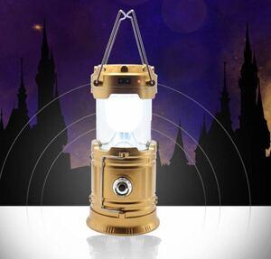 送料無料(ゴールド) LEDランタン 懐中電灯 ソーラーパネル搭載 ソーラー充電 usb充電式 2in1給電方法 防災 携帯式 ポータブル