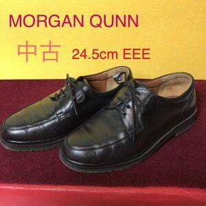 【売り切り!送料無料!】A-106 MORGAN QUNN!24.5cm EEE!レザーシューズ!カジュアルシューズ!革靴!ビジネスシューズ!革!レザー!中古!