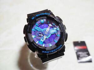 未使用 カシオ CASIO Gショック G-SHOCK Hyper Colors ハイパー・カラーズ GA-110HC-1AJF ブラック パープル 腕時計 ②