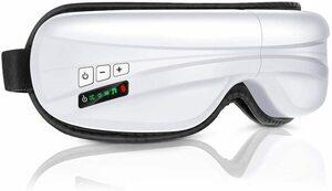 目元エステ ソルフェジオ 音量調節 5モード 温め機能 Bluetooth音楽機能 気圧アイエステ 180度二つ折り コンパクト USB充電式 ホワイト