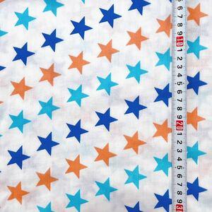 Wガーゼ 145幅×1m ハンドメイド ハギレ 夏用 マスク ガーゼ ハンカチ スタイ ベビー カジュアル スター 星 0508 tk700