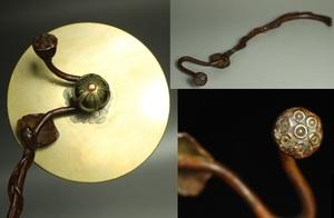 【最上】初出し 極上 希少品 蓮 ハス はす 鉄瓶蓋掴み 筆置 金工細工 古銅製 置物 盆景 煎茶道具 古美術品