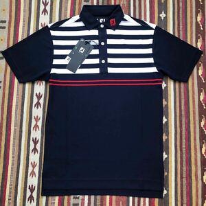 新品 フットジョイ Footjoy ポロシャツ 男性 M ゴルフ ドライ 吸汗速乾 抗菌防臭 UVカット ストレッチ素材 紺赤白ボーダーさらさら素材