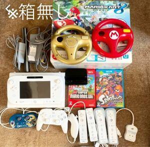 任天堂WiiU マリオカート版 ソフトやハンドル、コントローラーなど色々セット ※箱無し