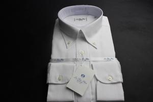 新品「HITOYOSHI」人吉 シルクのような光沢感/高級綿100%/形態安定/ボタンダウンワイシャツ 40-84 ヘリンボーン白織柄/LFTG-BD-88(3A305