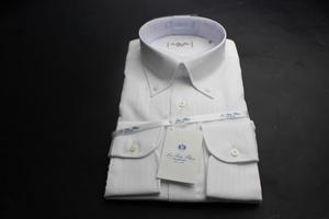 新品「HITOYOSHI」人吉 シルクのような光沢感/高級綿100%/形態安定/ボタンダウンワイシャツ 38-80 ストライプ白織柄/ LFTG-BD-91(3A429