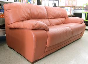 本革 3人掛けソファ MAX DIVANI 200cm オレンジ系色 大型 イタリア製家具 札幌市