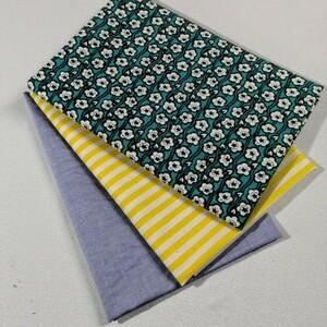 プリントハンプお花、ボーダーデニム黄×白、中厚地 ライトブルーのシャツ地