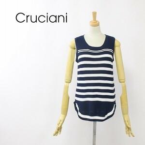 美品◆Cruciani/クルチアーニ ボーダー柄 コットン サマー ニット ノースリーブ セーター ベスト ネイビー×ホワイト 42