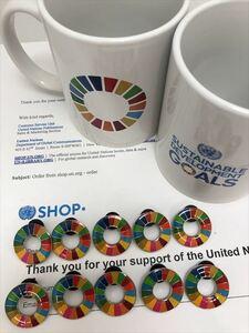 (国連ブックショップ購入・送料無料)SDGs ピンバッジ 10個(7700円(税込)(新品未使用)(ラバークラスプ再生素材)(小分袋1枚付)UN20