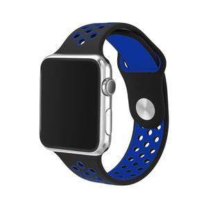 Apple watch バンド series4&5/40mm・series2&3/38mm用【ブラック×ブルー】シリーズ 5 4 3 2 アップルウォッチ ベルト スポーツバンド