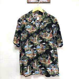 90S ハワイ製 ヴィンテージ 半袖シャツ アロハシャツ ハワイアンシャツ コットン 総柄 黒アロハ メンズL ヴィンテージ アメリカ古着