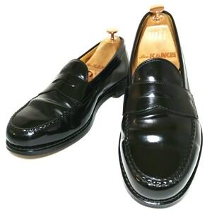 C192【MACK JAMES】マックジェームス コインローファー US8 26.0cm ハーフサドル 革靴 本革 ペニーローファー スリッポン レザー