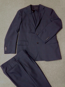 57【S.R】毛 BURBERRY LONDON バーバリー ロンドン 春夏 シングルスーツ スーツ メンズ ネイビー 紺 M 香川発