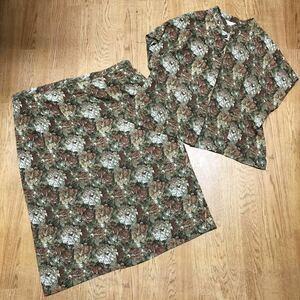 【大きいサイズ】31号/Sun Wind*レディース アンサンブル 花柄 総柄 ノーカラー 半袖シャツ 前開き タイトスカート セットアップ 婦人服