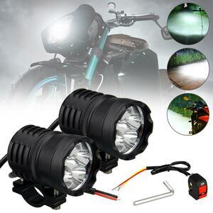 2個LED 60ワット6000LM 6500 18K 12V-80V 3モードバイク 防水ヘッドライトスポットライト補助ランプ & スイッチドロップシッピング