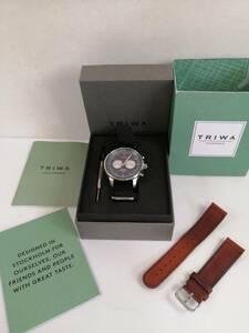 【コン無料】美品 TRIWA トリワ NEST108-SC NEVIL ネヴィル クロノグラフ ナイロン+レザーベルトセット クオーツ腕時計 箱説明書付[m4611]