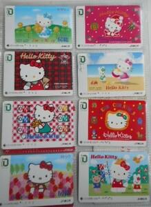 ★★使用済★★ イオカード A  JR東日本・1000円券  < Hello Kitty各種8枚 >