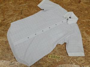<送料280円>TRITON トリトン メンズ 形態安定加工 クロス柄織り ボタンダウン 半袖シャツ 白×アイスグレー M