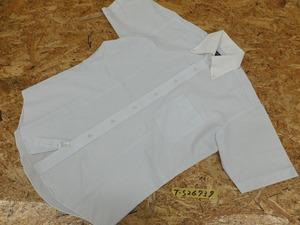<送料280円>GRASS グラス メンズ 形態安定加工 柄織り ボタンダウン 半袖シャツ 白×ライトグリーン×ライトブルー M