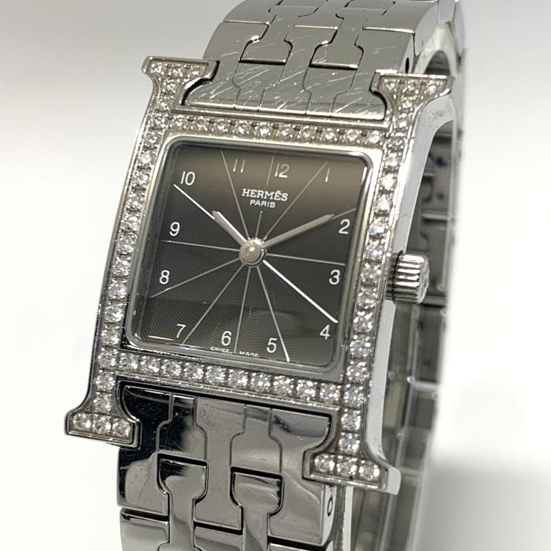 ●最終出品 1円~ エルメス Hermes Hウォッチ 黒文字盤 HH1.210 レディース クオーツ ダイヤモンドベゼル 腕時計 CD27777202