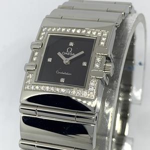 〇1円~ オメガ omega コンステレーション ダイヤモンドベゼル クアドラ 黒文字盤 1528.46 レディース クオーツ 保証書 腕時計 CD1795493