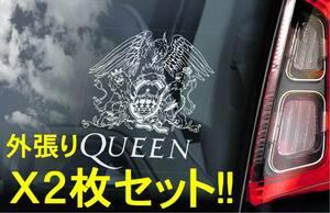 送無【Queen クイーン 2枚セット】外張り カーステッカー 110×100mm 外貼り カー ステッカー シール Rockバンド クィーン M1 2282-2P-1