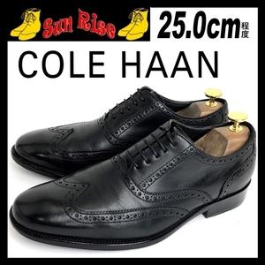即決 COLE HAAN コールハーン メンズ US7.5W 25cm程度 本革 レザー ウイングチップ 黒 カジュアル ドレス ビジネス シューズ 革靴 中古