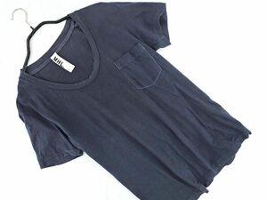 ネコポスOK マーガレットハウエル MHL. エムエイチエル Uネック Tシャツ size2/グレー ■◆ ☆ bec0