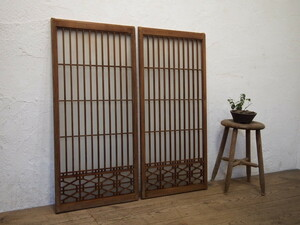 taS447*[H99cm×W46cm]×2 sheets * collection . skill. retro old wooden glass door * fittings sliding door paper . door old Japanese-style house block shop peace . interior K.1