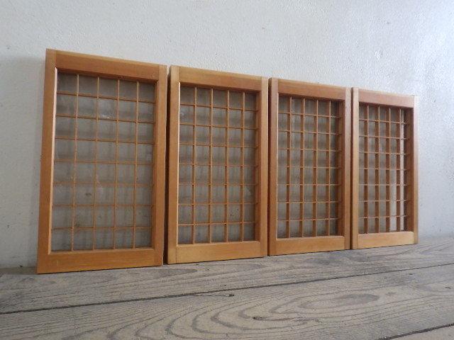 ユT260◆【H37cm×W20,5cm】×4枚◆可愛い小振りサイズの古い木製ガラス戸◆建具引き戸組子細工古民家町屋レトロS笹1