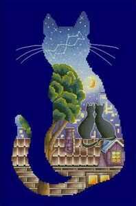 クロスステッチキット シーズンキャット(春) 猫 32×38cm 刺繍