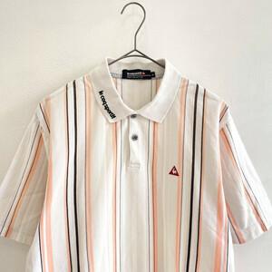 ゴルフ◆le coq sportif GOLF ルコック マルチ ストライプ 半袖 ポロシャツ Mサイズ / メンズ 紳士 コットン