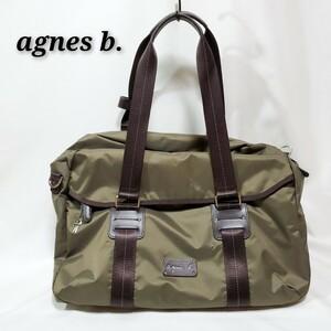 agnes b. アニエスベー  大容量  軽量 2way  ショルダーナイロンバッグ  カーキ 緑