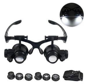 new clock repair gem shop. maintenance magnifying glass head have on tool LED light attaching . eye magnifying glass gem repair clock. repair DIY