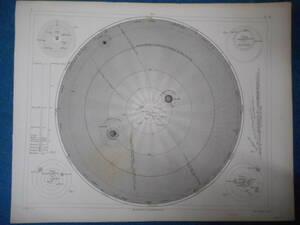 アンティーク、天球図、天文、星座早見盤、星座図絵1849年『ヘック天文図鑑太陽系星図』Star map, Planisphere,Celestial atlas