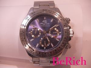 レガロ Regalo メンズ 腕時計 青 ブルー 文字盤 SS シルバー クロノグラフ クォーツ アナログ ウォッチ 【中古】ht2353